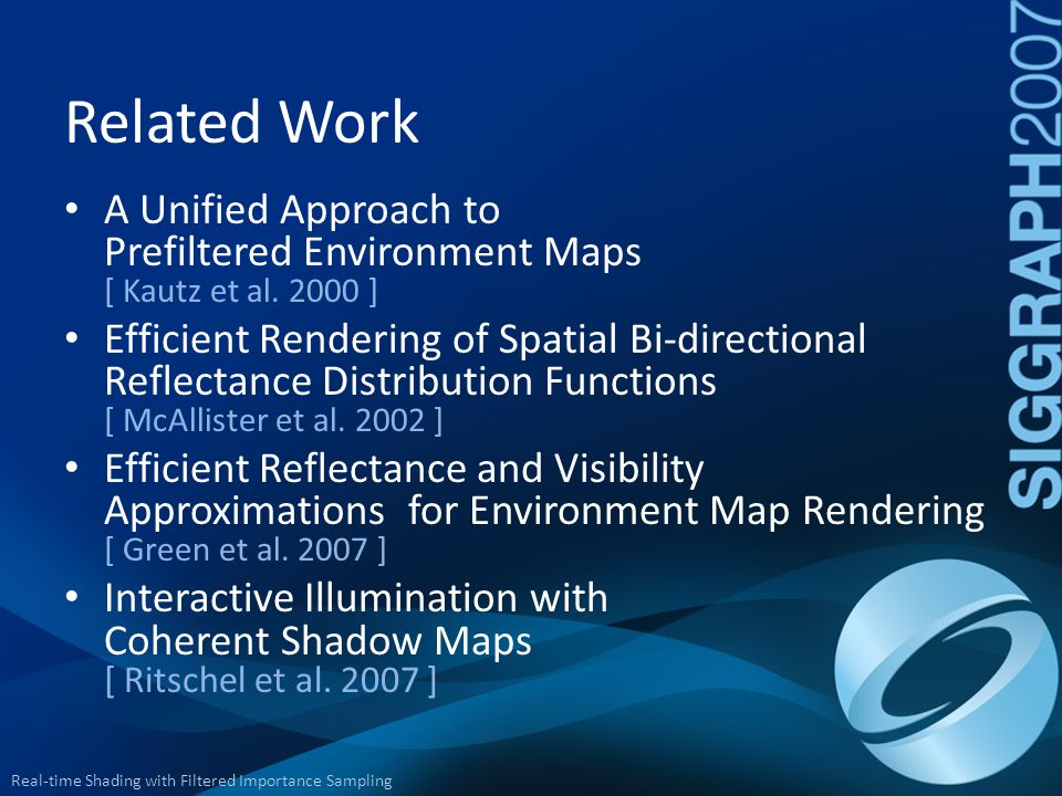 Related Work A Unified Approach to Prefiltered Environment Maps [ Kautz et al. 2000 ]